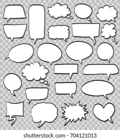vector set of comic speech bubbles on transparent background