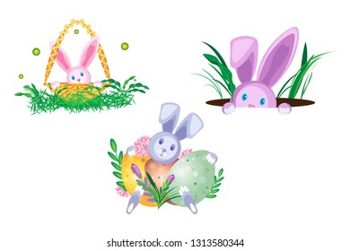Vector set of compositions with Easter bunnies. Isolated composition on a transparent background.
