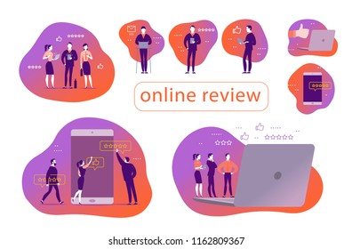 Vector set of concept design with online review. Office people stand watching on mobile device screen - laptop, tablet, smartphone. Thumb up, stars line icons. Landing page, mobile app, UI, UX, site.