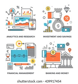 Vector set of conceptual flat line illustrations on following themes - analytics and research, investment and savings, financial management, banking and money