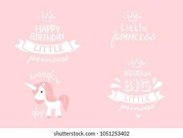 3cd23902 Vector set of congratulatory inscriptions. Little princess, happy birthday,  big dreams. cartoon