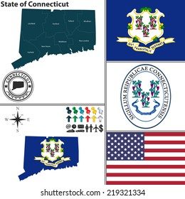 Vector set of Connecticut state with flag and icons on white background