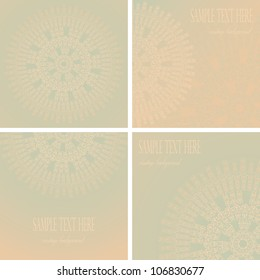 Vector set consisting of a round pattern and three vintage cards with pastel colors