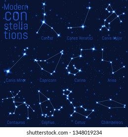 vector set of constellations. bright stars and lines on a starry sky. realistic image of celestial bodies. Cancer, Canes Venatici, Canis Major, Canis Minor, Capricornus, Carina, Cassiopeia, Centaurus,