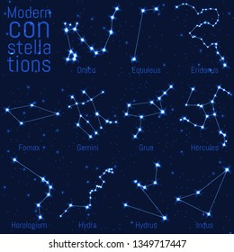 vector set of constellations. bright stars and lines on a starry sky. realistic image of celestial bodies. Draco, Equuleus, Eridanus, Fornax, Gemini, Grus, Hercules, Horologium, Hydra, Hydrus, Indus