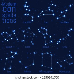 vector set of constellations. bright stars and lines on a starry sky. realistic image of celestial bodies. Lacerta, Leo, Leo Minor, Lepus, Libra, Lupus, Lynx, Lyra, Mensa, Microscopium, Monoceros