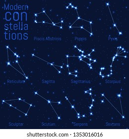 vector set of constellations. bright stars and lines on starry sky. realistic image of celestial bodies. Piscis Austrinis, Reticulum, Sagitta, Sagittarius, Scorpius, Sculptor, Scutum, Serpens,