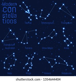 vector set of constellations. bright stars on starry sky. realistic image of celestial bodies. Taurus, Triangulum, Triangulum Australe, Tucana, Ursa Major, Ursa Minor, Vela, Virgo, Volans, Vulpecula