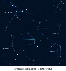 vector set of constellations. can be used in website design, postcards, patterns, etc.
