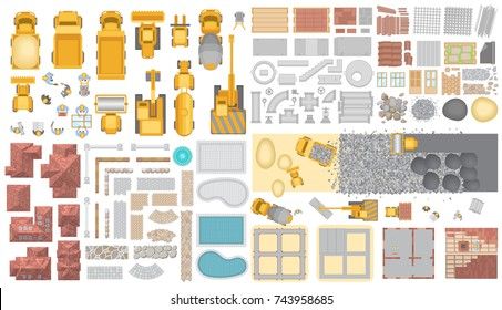 Vector set. Construction. Top view. Construction machinery, building materials, buildings. View from above.