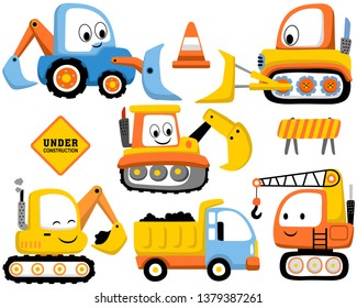Vector set of construction vehicles cartoon