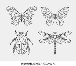 Vector. Set contour polygonal insects. Abstract geometric butterfly, dragonfly, beetle. Vector