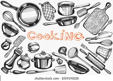 Vector set with cooking hand-drawn  icons