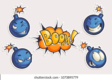 Vector set of cool stickers with cartoon bombs and Boom lettering. Hand drawn funny characters in different emotions in comics style isolated on white.
