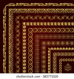 Vector set of corner borders and frames in gold