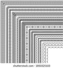 Vector set of corner brushes in a modern linear style. Group of elegant simple border designs for certificates, friezes, headbands, borders, frame, card, invitation, banner, printing on textile, paper