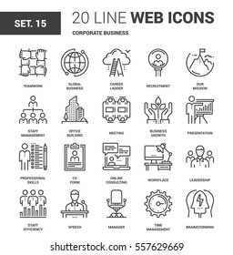 Vector set of corporate business line web icons. Each icon with adjustable strokes neatly designed on pixel perfect 64X64 size grid. Fully editable and easy to use