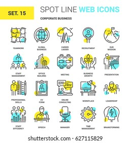Vector set of corporate business spot line web icons. Each icon with adjustable strokes neatly designed on pixel perfect 64X64 size grid. Fully editable and easy to use.