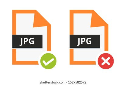 Vector set of correct approved and incorrect disapproved jpg or jpeg file. Flat icon with green check sign and red cancel sign, error. Symbol of lossy compression format for pictures isolated on white