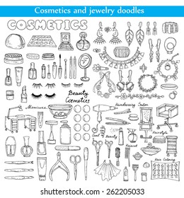 Vector set of cosmetics and jewelry doodles on white background. Sketches for use in design
