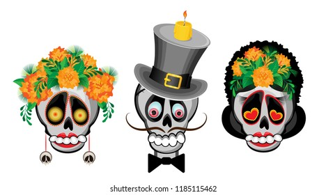 Vector set of costumed skulls on the day of the dead. On a transparent background