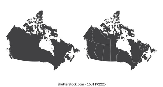 Vector set couple black of map Canada.