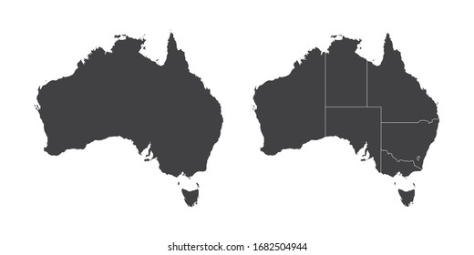 Vector set couple black of map Australia.
