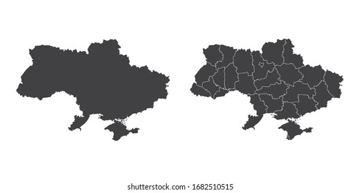 Vector set couple black of map Ukraine.