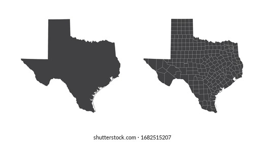 Vector set couple black of map Texas.