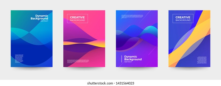 Vector set cover design. colorful gradient shape and line dynamic background. geometric pattern vivid color. Vector illustrate.