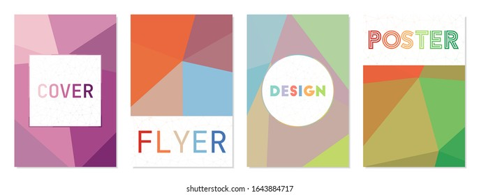 Vector set of cover designs. Can be used as cover, banner, flyer, poster, business card, brochure. Charming geometric background collection. Appealing vector illustration.