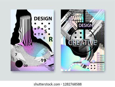 Vector set of covers templates with bauhaus and memphis graphic geometric glitch, fluid and liquid elements. Use for placards, flyers, brochures, posters, covers and banners.