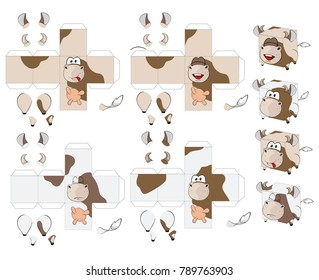 Vector Set of Cow Cubes. Toy for assemblage