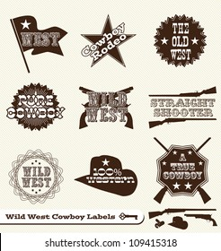 Vector Set: Cowboy and Wild West Labels and Sticker Elements in Vintage Style