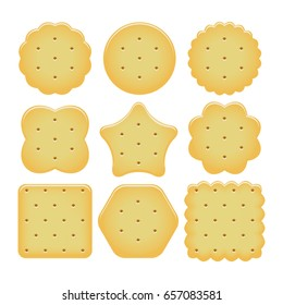 vector set of cracker chips isolated on white background. baked and salted cheese cracker chips of different shapes