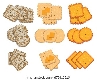 vector set of cracker chips. top view of cheese crackers isolated on white background.