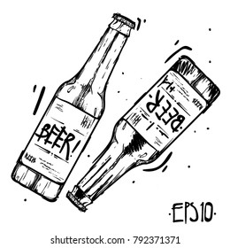 Vector set of  craft beer bottles in ink hand drawn style. isolated on white.