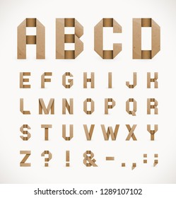 Vector Set of Craft Paper Origami Alphabet Letters and Punctuation Marks.