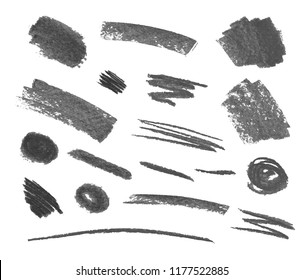Vector Set of Crayons Gray Strokes Isoalted on White Background, Design Elements Collection.