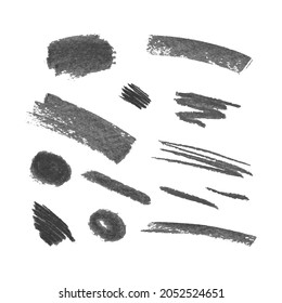 Vector Set of Crayons Gray Strokes, Brush Textures, Isolated on White Background, Design Elements Collection.