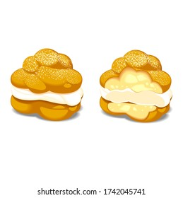 Vector set of cream puff illustrations isolated on white background