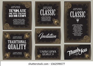 Vector set for creating advertisements, flyer, web, wedding  and other invitations or greeting cards. Happy holidays.