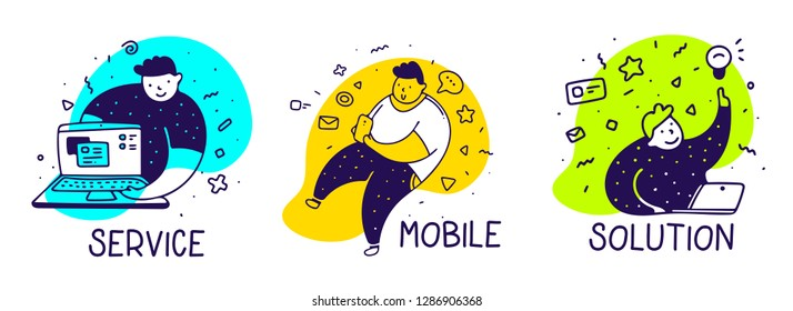 Vector set of creative illustration of fat man with mobile gadget in different pose on color background. Line art style man design for web, site, banner, presentation