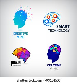 Vector set of creative mind, brainstorm, smart technologies logos, icons isolated