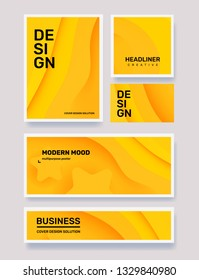 Vector set of creative yellow abstract different paper cut style illustration in frame. Business abstraction background with header. Template composition design for web, site, banner, print, poster