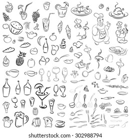 Vector set of crockery, cutlery, wine glasses, fruit, desserts, food and drink. Sketch for restaurants, cafes and bars.Doodles cocktails and desserts, fruits,coffee,alcohol, bar, drink icons.