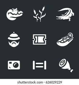 Vector Set of Crocodile farm Icons.
