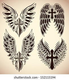 Vector Set of cross and wings - tattoo - elements