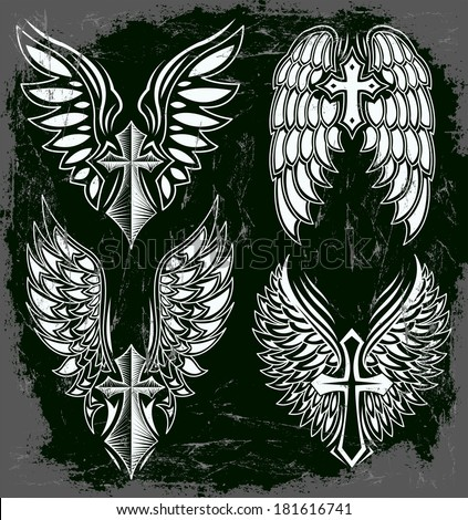 Vector Set Cross Wings Tattoo Elements Stock Vector Royalty Free