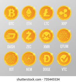 Vector set of Cryptocurrency gold coins with Bitcoin, ETH, LTC, XRP, DASH, ZEC, XMR, QTUM, IOT, NEN, DOGE, VTC. Digital virtual currency, form of money uses cryptography for security, trading online